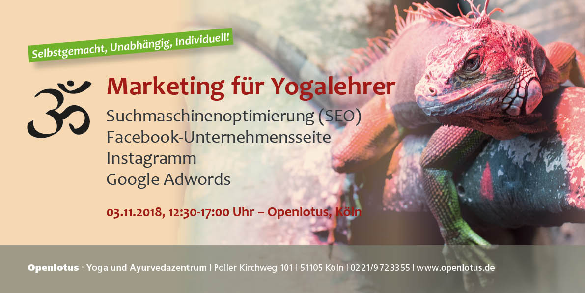 Flyer zum Workshop Marketing für Yogalehrer
